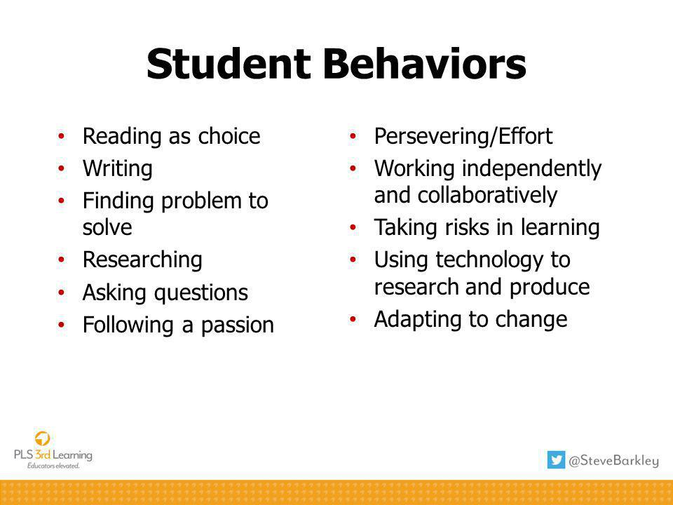 Student Behaviors Reading as choice Writing Finding problem to solve Researching Asking questions Following a passion Persevering/Effort Working independently and collaboratively Taking risks in learning Using technology to research and produce Adapting to change