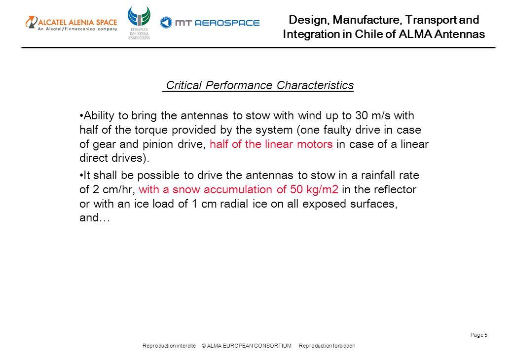 Reproduction interdite © ALMA EUROPEAN CONSORTIUM Reproduction forbidden Design, Manufacture, Transport and Integration in Chile of ALMA Antennas Page 46 Item2000 m3000 m4000 m5000 m Diesel engines25%40%55%70% Air compressors35%55%75%95% Vacuum pumps20%30%40%50% Transmission lines10%20%30%40% Transformers5%15%25%35% Electrical machines5%15%25%35% ALMA Memo n.