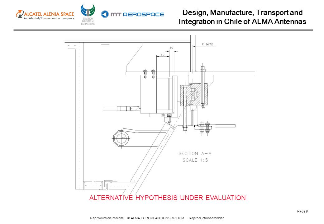 Reproduction interdite © ALMA EUROPEAN CONSORTIUM Reproduction forbidden Design, Manufacture, Transport and Integration in Chile of ALMA Antennas Page 9 ALTERNATIVE HYPOTHESIS UNDER EVALUATION