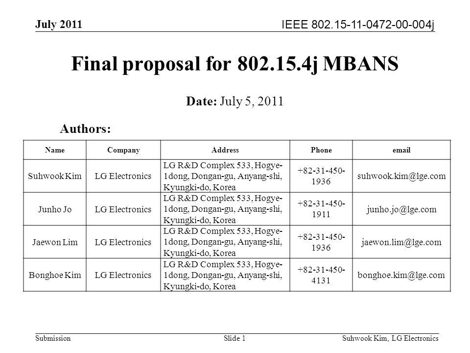 IEEE 802.15-11-0472-00-004j July 2011 Suhwook Kim, LG Electronics Submission Final proposal for 802.15.4j MBANS Authors: Date: July 5, 2011 NameCompanyAddressPhoneemail Suhwook KimLG Electronics LG R&D Complex 533, Hogye- 1dong, Dongan-gu, Anyang-shi, Kyungki-do, Korea +82-31-450- 1936 suhwook.kim@lge.com Junho JoLG Electronics LG R&D Complex 533, Hogye- 1dong, Dongan-gu, Anyang-shi, Kyungki-do, Korea +82-31-450- 1911 junho.jo@lge.com Jaewon LimLG Electronics LG R&D Complex 533, Hogye- 1dong, Dongan-gu, Anyang-shi, Kyungki-do, Korea +82-31-450- 1936 jaewon.lim@lge.com Bonghoe KimLG Electronics LG R&D Complex 533, Hogye- 1dong, Dongan-gu, Anyang-shi, Kyungki-do, Korea +82-31-450- 4131 bonghoe.kim@lge.com Slide 1