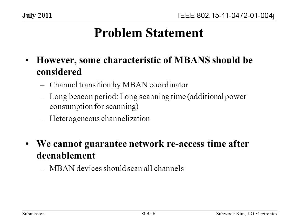 IEEE 802.15-11-0472-01-004j July 2011 Suhwook Kim, LG Electronics Submission MAC enhancement Channel switch notification –Channel switch command with time, channel information Slide 7