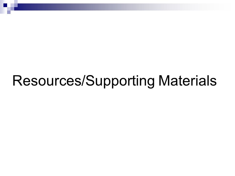 Resources/Supporting Materials