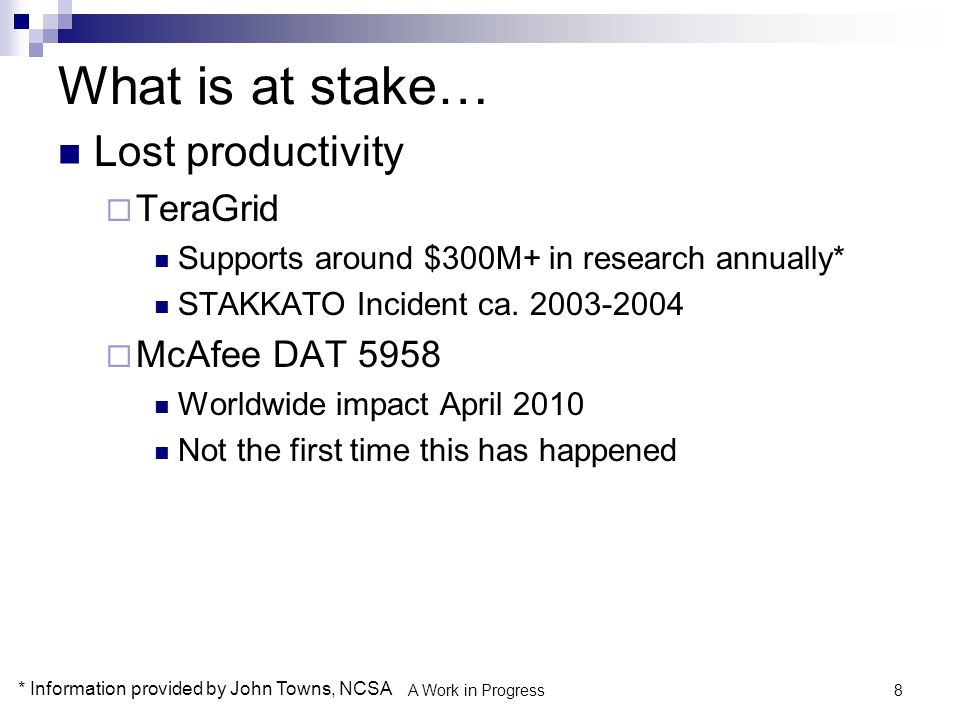 9 What is at stake… Expensive incident response and notification  Laptop stolen from public west-coast research university: $750K out of pocket  Research server breach at private east-coast research university: $200K out of pocket  External hard drive stolen containing student and alumni data from a locked office at research university: $1M out of pocket