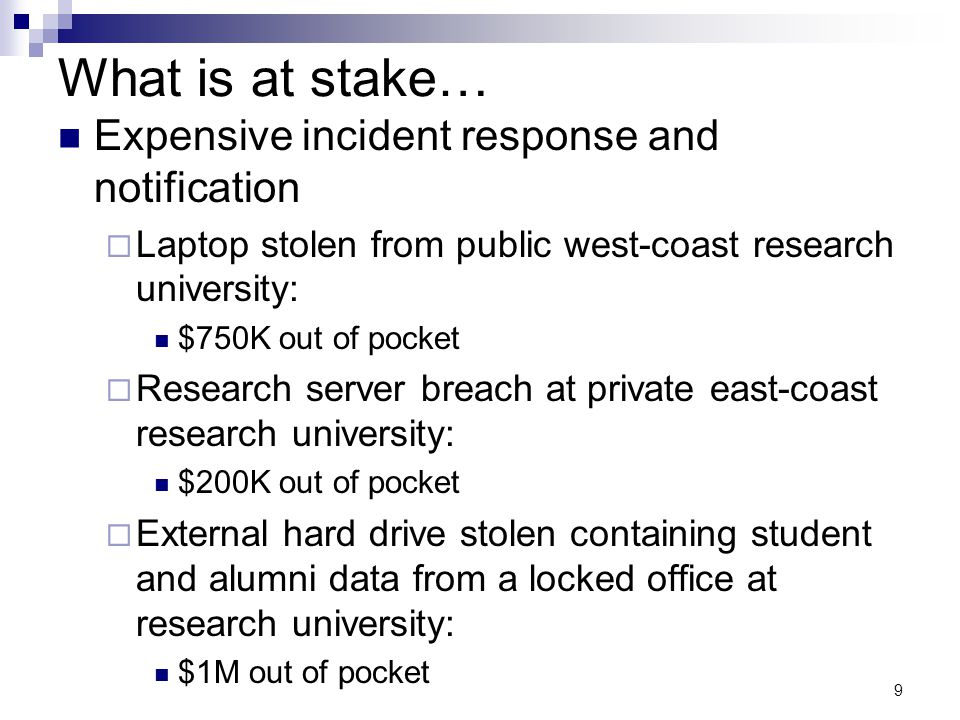 9 What is at stake… Expensive incident response and notification  Laptop stolen from public west-coast research university: $750K out of pocket  Res