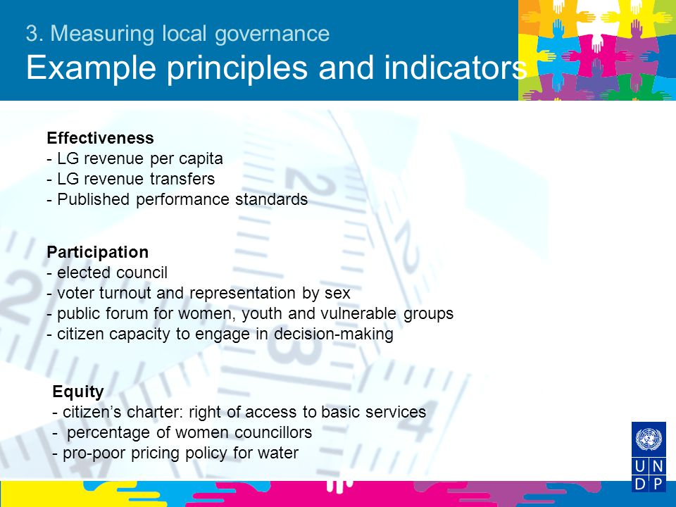 3. Measuring local governance Example principles and indicators Effectiveness - LG revenue per capita - LG revenue transfers - Published performance s