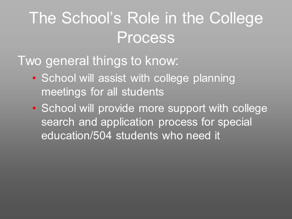 The School's Role in the College Process Two general things to know: School will assist with college planning meetings for all students School will provide more support with college search and application process for special education/504 students who need it