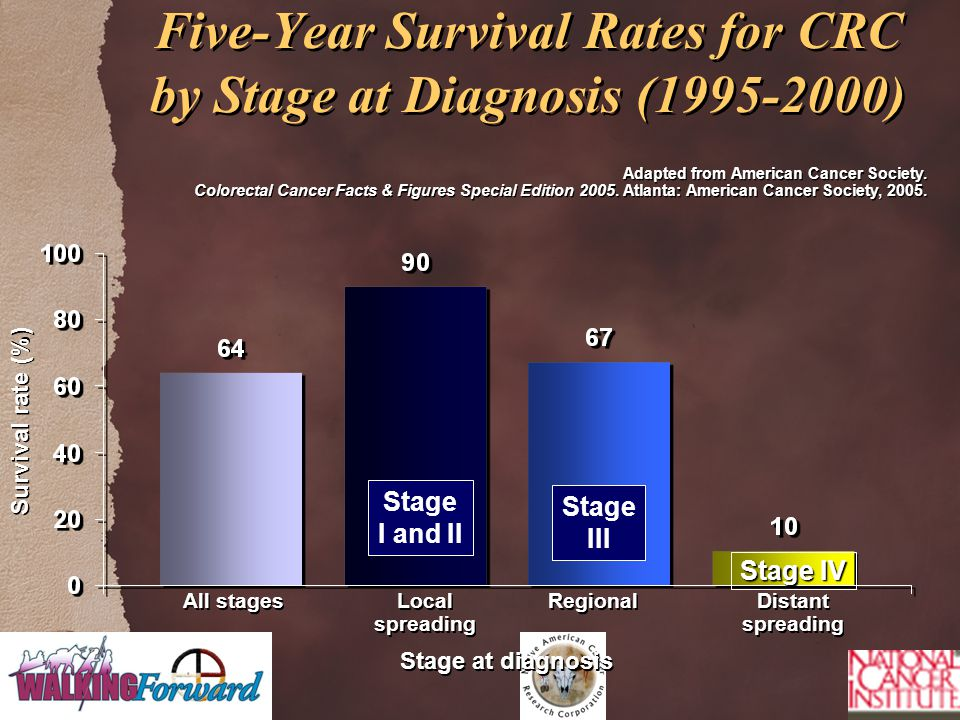 Five-Year Survival Rates for CRC by Stage at Diagnosis (1995-2000) Adapted from American Cancer Society.