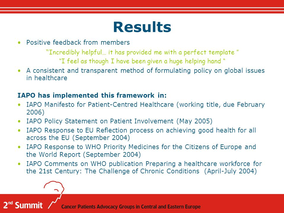 Results Positive feedback from members Incredibly helpful… it has provided me with a perfect template I feel as though I have been given a huge helping hand A consistent and transparent method of formulating policy on global issues in healthcare IAPO has implemented this framework in: IAPO Manifesto for Patient-Centred Healthcare (working title, due February 2006) IAPO Policy Statement on Patient Involvement (May 2005) IAPO Response to EU Reflection process on achieving good health for all across the EU (September 2004) IAPO Response to WHO Priority Medicines for the Citizens of Europe and the World Report (September 2004) IAPO Comments on WHO publication Preparing a healthcare workforce for the 21st Century: The Challenge of Chronic Conditions (April-July 2004)