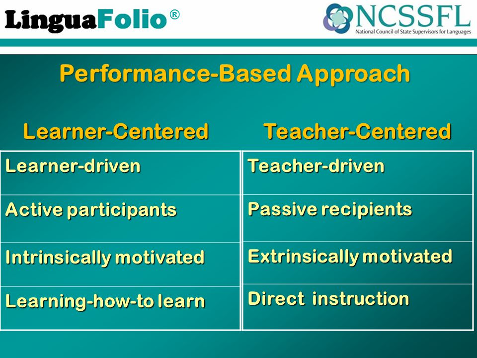 ® Learner-driven Active participants Intrinsically motivated Learning-how-to learn Learner-CenteredTeacher-Centered Performance-Based Approach Teacher