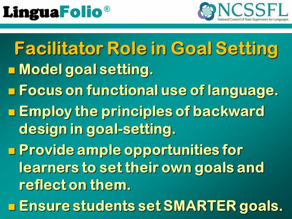 ® Facilitator Role in Goal Setting Model goal setting.