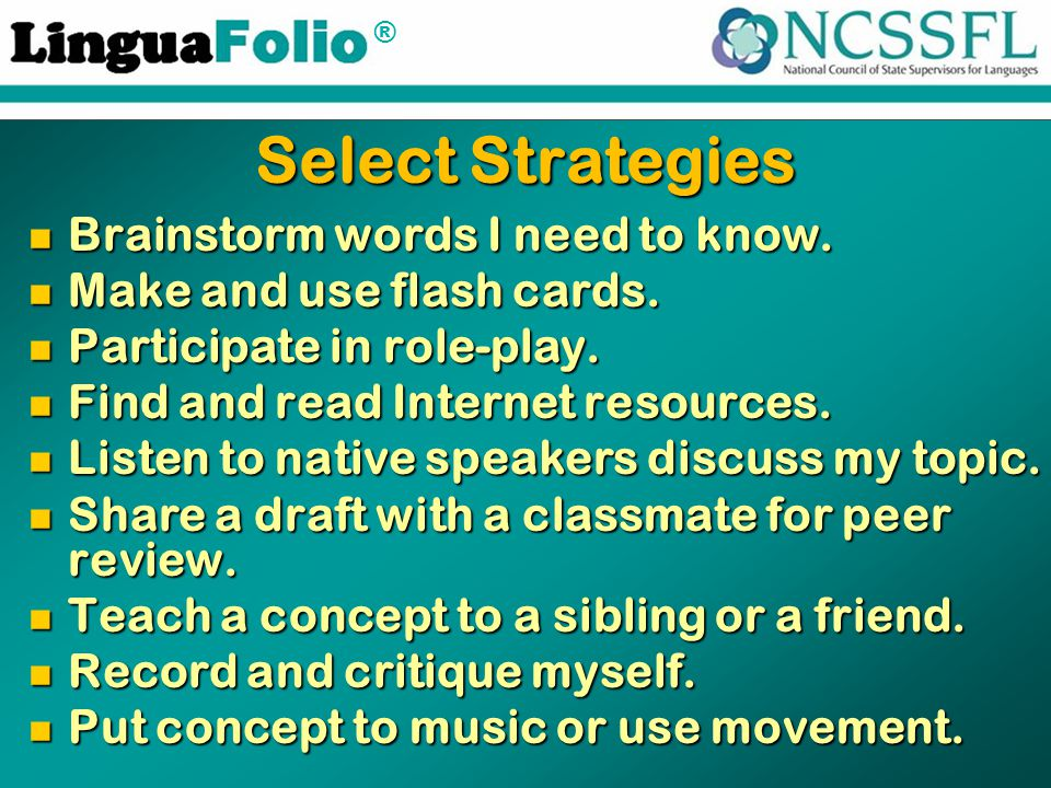 ® Select Strategies Brainstorm words I need to know.