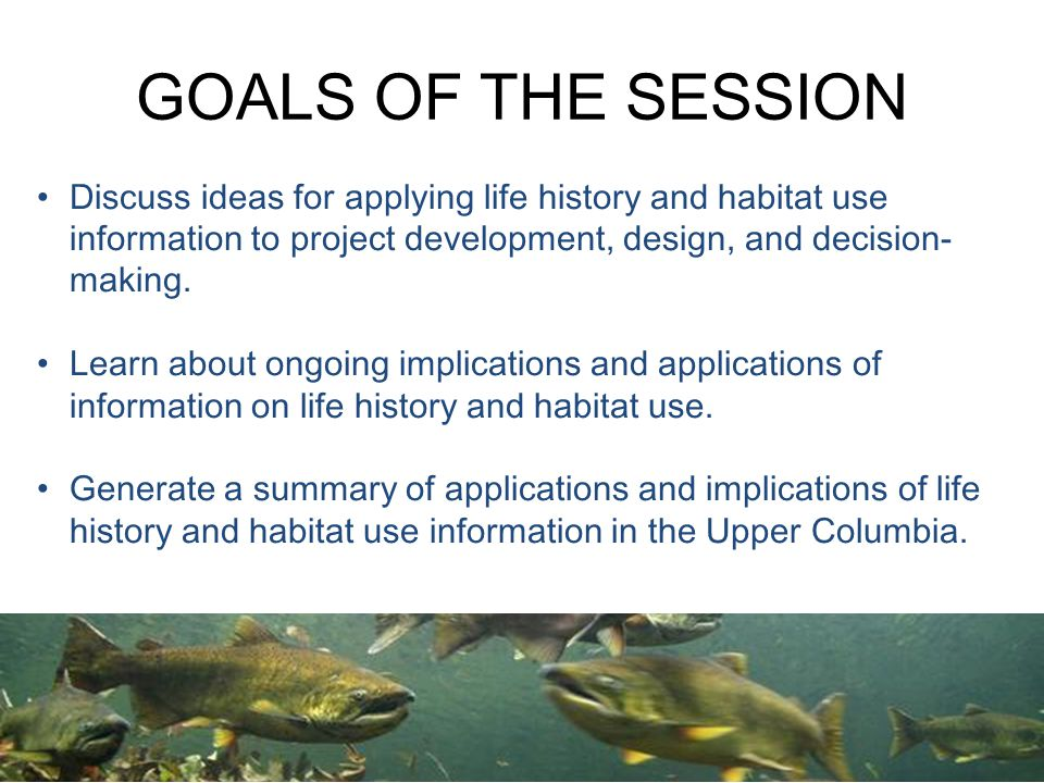 GOALS OF THE SESSION Discuss ideas for applying life history and habitat use information to project development, design, and decision- making.