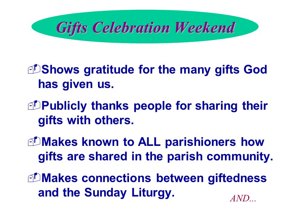 Gifts Celebration Weekend  Shows gratitude for the many gifts God has given us.