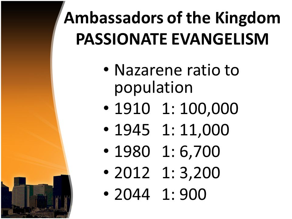 Nazarene ratio to population 19101: 100,000 19451: 11,000 19801: 6,700 20121: 3,200 20441: 900 Ambassadors of the Kingdom PASSIONATE EVANGELISM