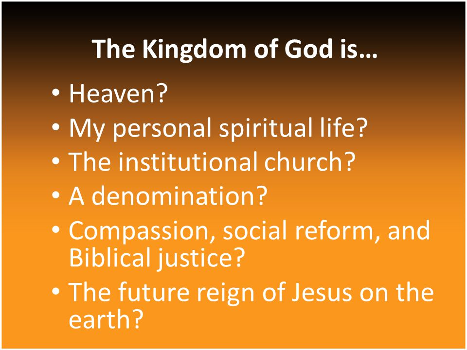 Heaven.My personal spiritual life. The institutional church.