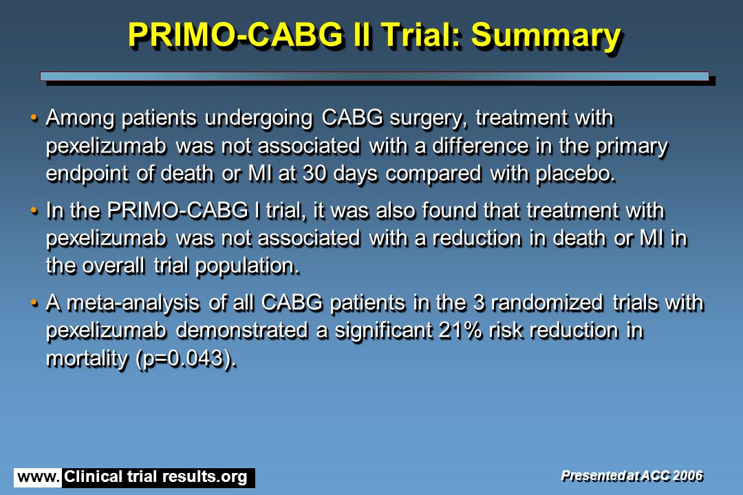 www. Clinical trial results.org PRIMO-CABG ll Trial: Summary Among patients undergoing CABG surgery, treatment with pexelizumab was not associated wit