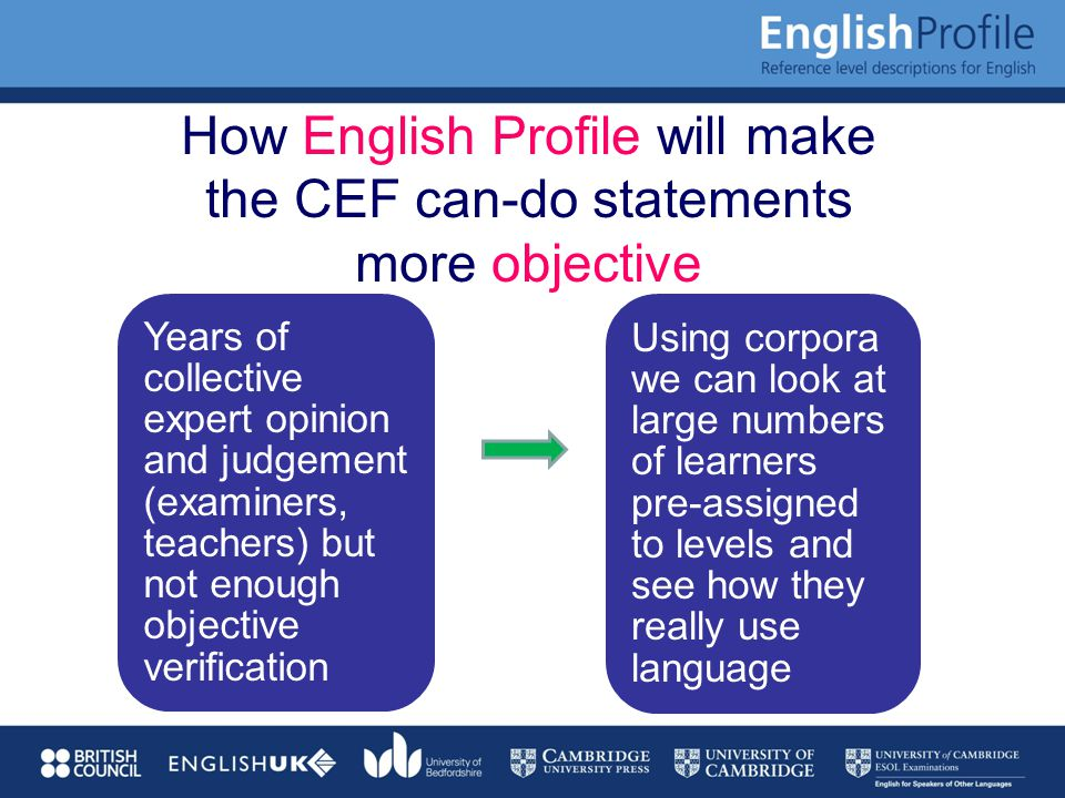 How English Profile will make the CEF can-do statements more objective Years of collective expert opinion and judgement (examiners, teachers) but not enough objective verification Using corpora we can look at large numbers of learners pre-assigned to levels and see how they really use language