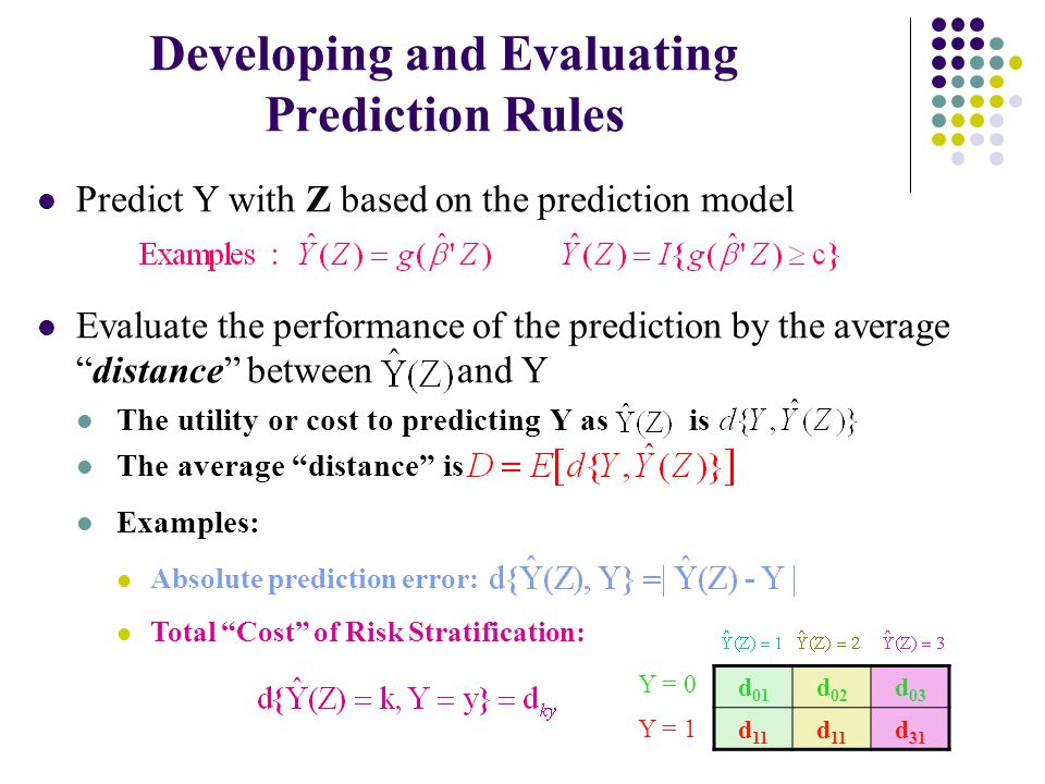 Developing and Evaluating Prediction Rules Predict Y with Z based on the prediction model Evaluate the performance of the prediction by the average distance between and Y The utility or cost to predicting Y as is The average distance is Examples: Absolute prediction error: Total Cost of Risk Stratification: d 01 d 02 d 03 d 11 d 31 Y = 0 Y = 1