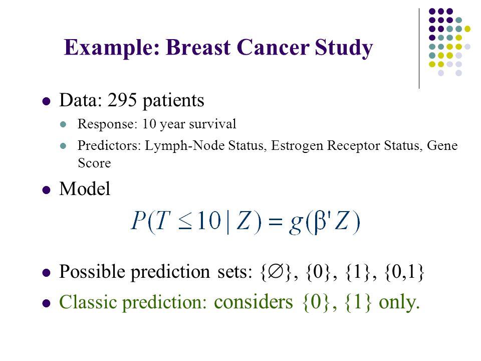 Example: Breast Cancer Study Data: 295 patients Response: 10 year survival Predictors: Lymph-Node Status, Estrogen Receptor Status, Gene Score Model Possible prediction sets: {  }, {0}, {1}, {0,1} Classic prediction: considers {0}, {1} only.