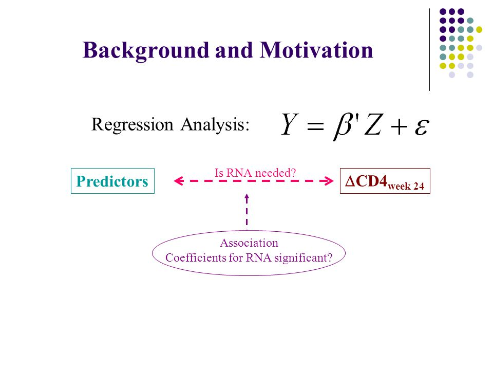 Background and Motivation  CD4 week 24 Predictors Association Coefficients for RNA significant.