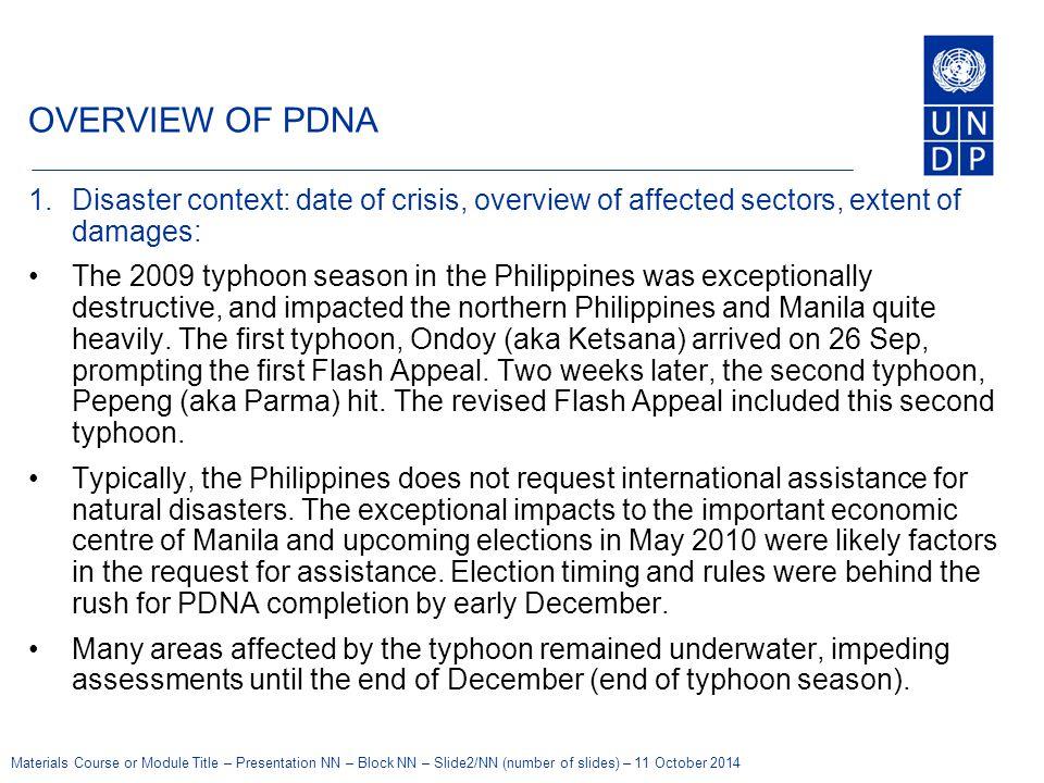 Materials Course or Module Title – Presentation NN – Block NN – Slide2/NN (number of slides) – 11 October 2014 OVERVIEW OF PDNA 1.Disaster context: da