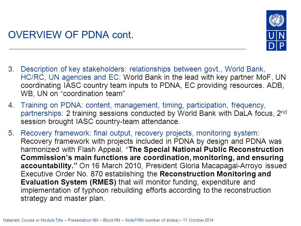 Materials Course or Module Title – Presentation NN – Block NN – Slide7/NN (number of slides) – 11 October 2014 OVERVIEW OF PDNA cont.