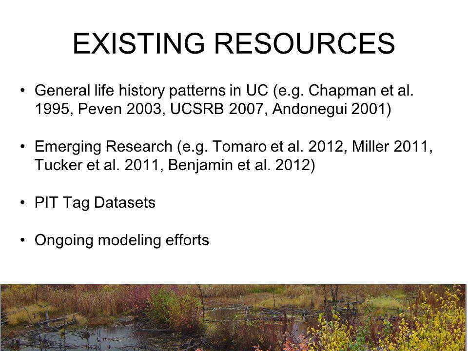 EXISTING RESOURCES General life history patterns in UC (e.g. Chapman et al. 1995, Peven 2003, UCSRB 2007, Andonegui 2001) Emerging Research (e.g. Toma