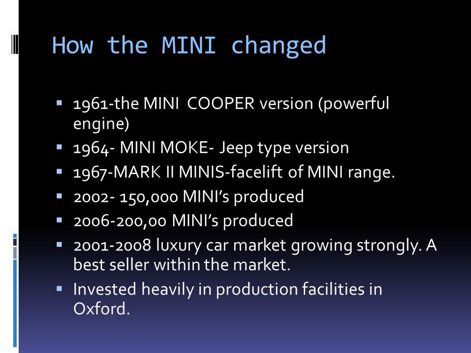 How the MINI changed  1961-the MINI COOPER version (powerful engine)  1964- MINI MOKE- Jeep type version  1967-MARK II MINIS-facelift of MINI range