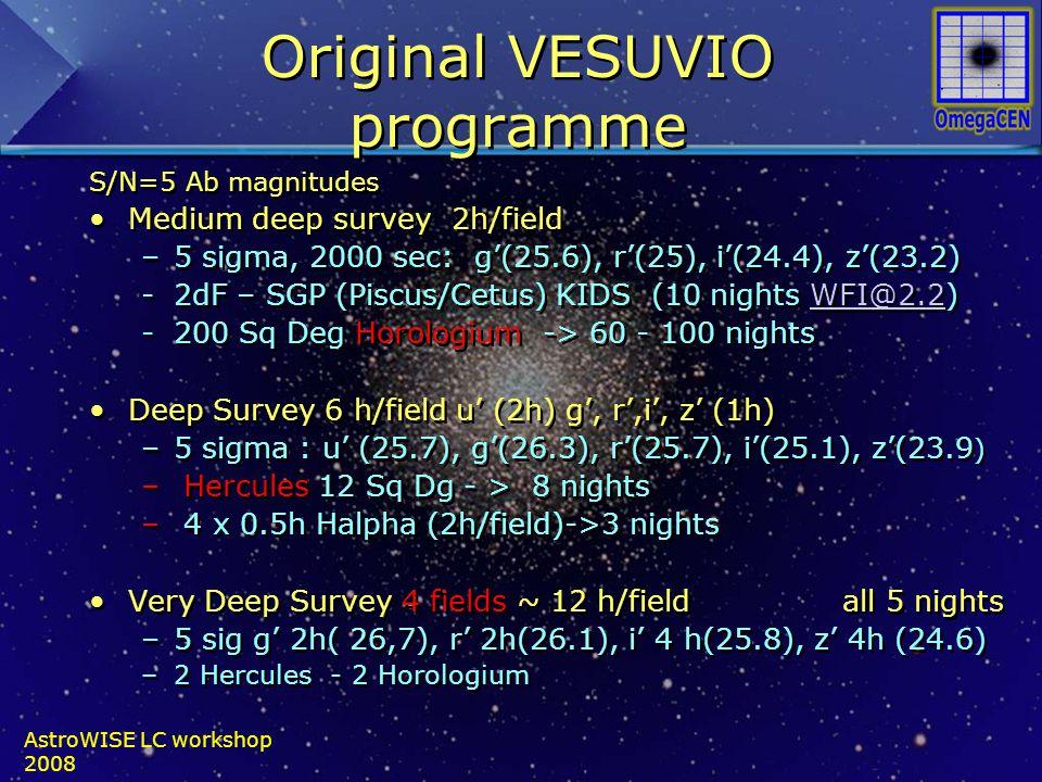 Original VESUVIO programme S/N=5 Ab magnitudes Medium deep survey 2h/field –5 sigma, 2000 sec: g'(25.6), r'(25), i'(24.4), z'(23.2) -2dF – SGP (Piscus/Cetus) KIDS (10 nights WFI@2.2)WFI@2.2 -200 Sq Deg Horologium -> 60 - 100 nights Deep Survey 6 h/field u' (2h) g', r',i', z' (1h) –5 sigma : u' (25.7), g'(26.3), r'(25.7), i'(25.1), z'(23.9 ) – Hercules 12 Sq Dg - > 8 nights – 4 x 0.5h Halpha (2h/field)->3 nights Very Deep Survey 4 fields ~ 12 h/field all 5 nights –5 sig g' 2h( 26,7), r' 2h(26.1), i' 4 h(25.8), z' 4h (24.6) –2 Hercules - 2 Horologium S/N=5 Ab magnitudes Medium deep survey 2h/field –5 sigma, 2000 sec: g'(25.6), r'(25), i'(24.4), z'(23.2) -2dF – SGP (Piscus/Cetus) KIDS (10 nights WFI@2.2)WFI@2.2 -200 Sq Deg Horologium -> 60 - 100 nights Deep Survey 6 h/field u' (2h) g', r',i', z' (1h) –5 sigma : u' (25.7), g'(26.3), r'(25.7), i'(25.1), z'(23.9 ) – Hercules 12 Sq Dg - > 8 nights – 4 x 0.5h Halpha (2h/field)->3 nights Very Deep Survey 4 fields ~ 12 h/field all 5 nights –5 sig g' 2h( 26,7), r' 2h(26.1), i' 4 h(25.8), z' 4h (24.6) –2 Hercules - 2 Horologium AstroWISE LC workshop 2008