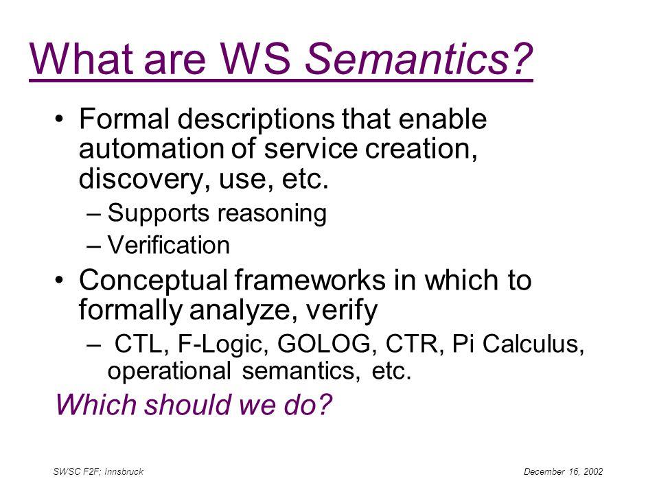 SWSC F2F; Innsbruck December 16, 2002 What are WS Semantics.