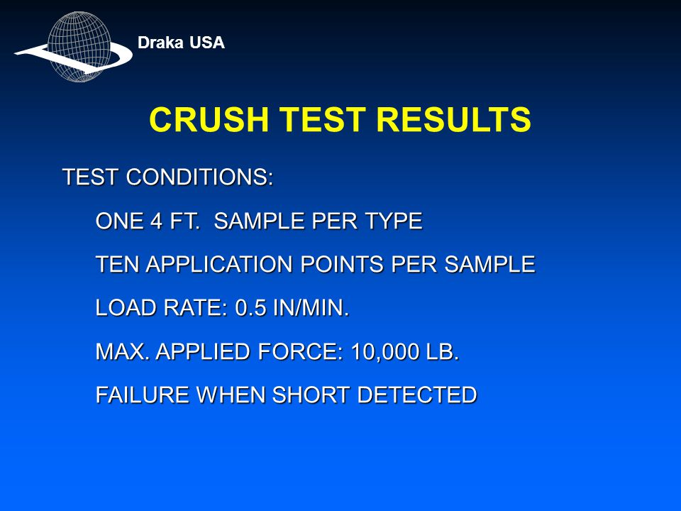 CRUSH TEST RESULTS TEST CONDITIONS: ONE 4 FT. SAMPLE PER TYPE TEN APPLICATION POINTS PER SAMPLE LOAD RATE: 0.5 IN/MIN. MAX. APPLIED FORCE: 10,000 LB.