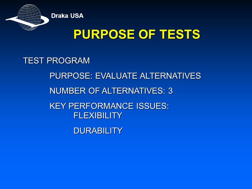 PURPOSE OF TESTS TEST PROGRAM PURPOSE: EVALUATE ALTERNATIVES PURPOSE: EVALUATE ALTERNATIVES NUMBER OF ALTERNATIVES: 3 NUMBER OF ALTERNATIVES: 3 KEY PERFORMANCE ISSUES: FLEXIBILITY KEY PERFORMANCE ISSUES: FLEXIBILITYDURABILITY Draka USA