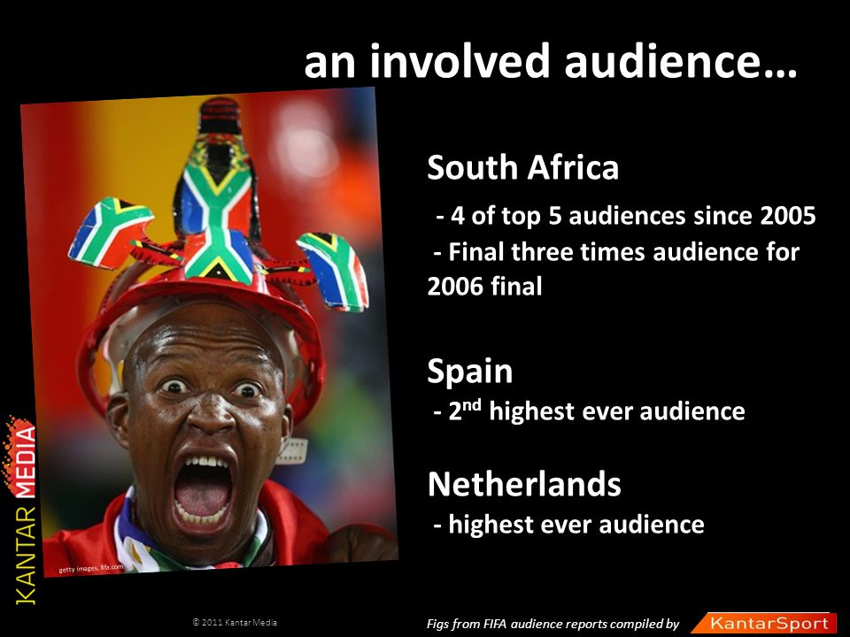 an involved audience… South Africa - 4 of top 5 audiences since 2005 - Final three times audience for 2006 final Spain - 2 nd highest ever audience Ne