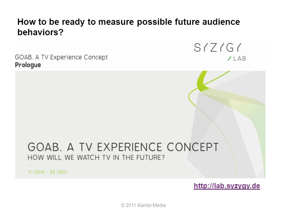 How to be ready to measure possible future audience behaviors? © 2011 Kantar Media http://lab.syzygy.de