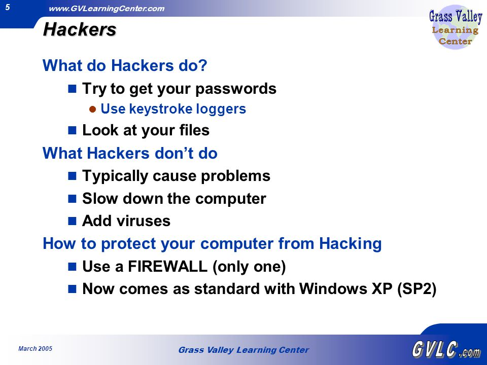 Grass Valley Learning Center www.GVLearningCenter.com March 2005 6Hackers Now Let's Do It.