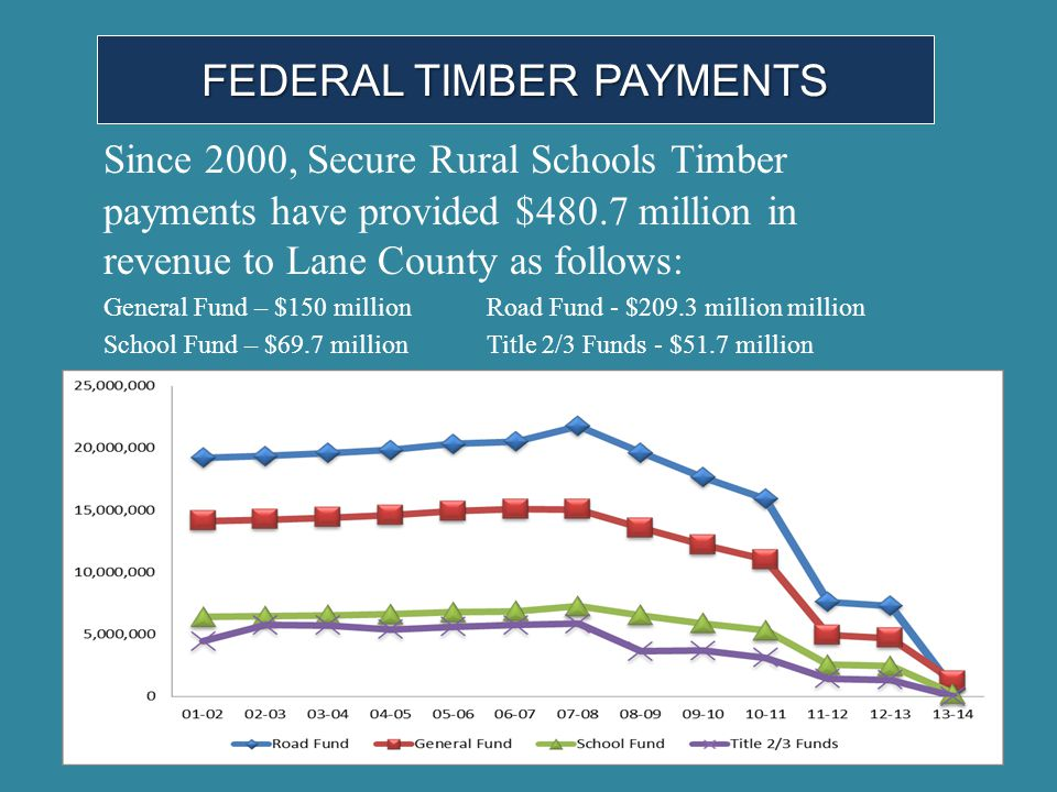 FEDERAL TIMBER PAYMENTS Since 2000, Secure Rural Schools Timber payments have provided $480.7 million in revenue to Lane County as follows: General Fu