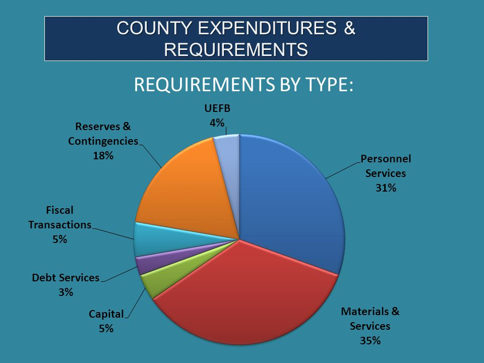 COUNTY EXPENDITURES & REQUIREMENTS REQUIREMENTS BY TYPE: