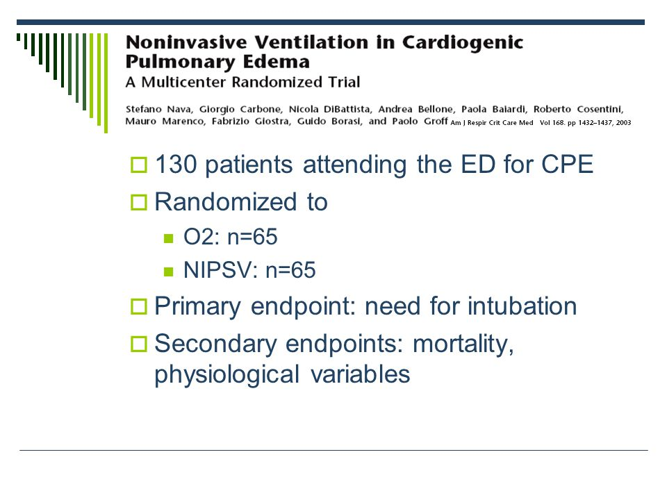  130 patients attending the ED for CPE  Randomized to O2: n=65 NIPSV: n=65  Primary endpoint: need for intubation  Secondary endpoints: mortality, physiological variables