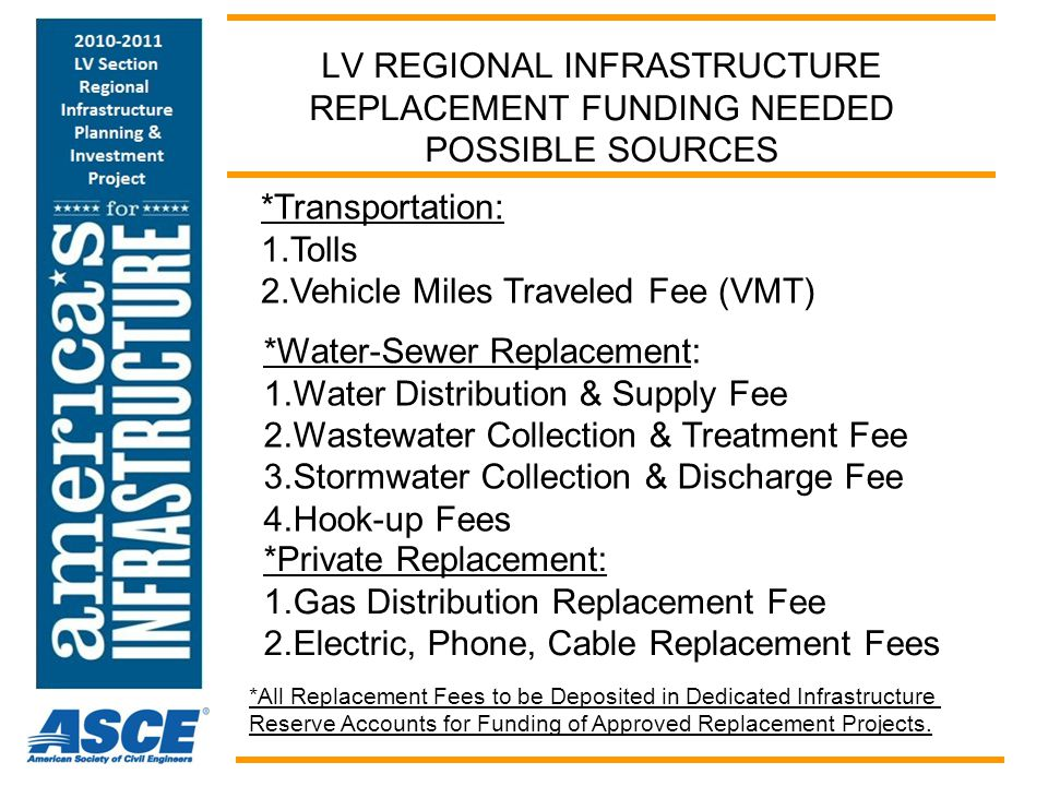 LV REGIONAL INFRASTRUCTURE REPLACEMENT FUNDING NEEDED POSSIBLE SOURCES *Transportation: 1.Tolls 2.Vehicle Miles Traveled Fee (VMT) *Water-Sewer Replac