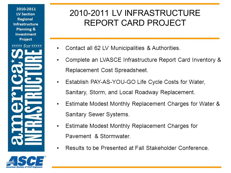 LV REGIONAL INFRASTRUCTURE REPORT CARD OBJECTIVES Do a Snapshot Infrastructure Inventory Summarize Results on a Spreadsheet Estimate Current Replacement Costs South Whitehall Township $120 million replacement cost $100 per capita per year 20,000 population