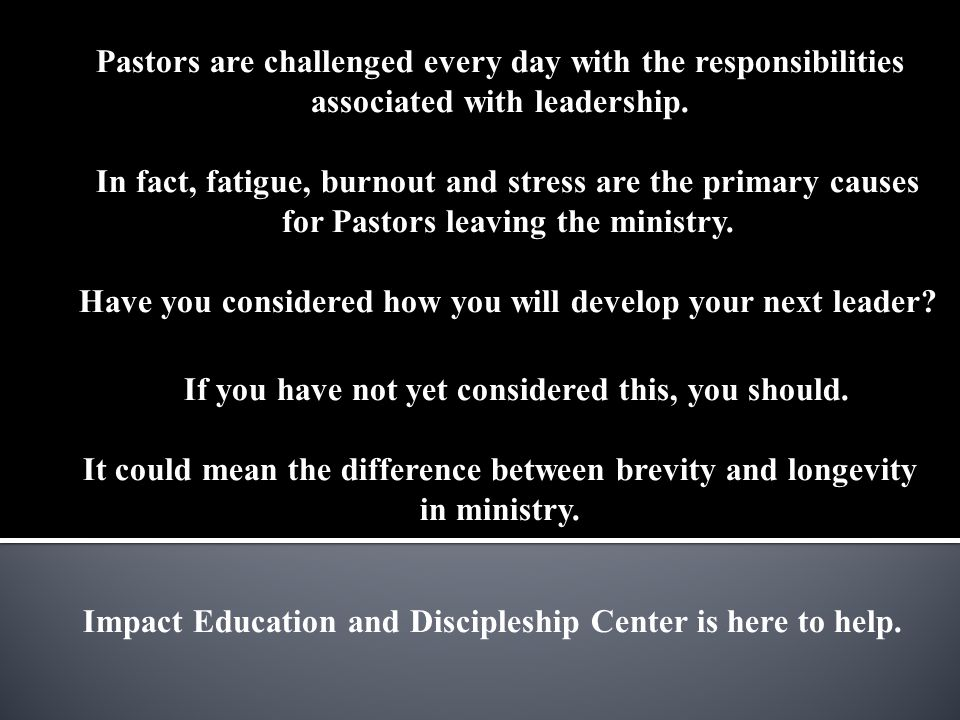 Impact Education and Discipleship Center is here to help.