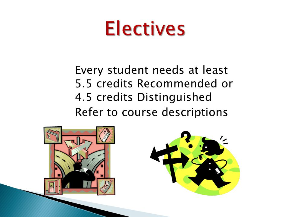 ● Every student needs at least 5.5 credits Recommended or 4.5 credits Distinguished ● Refer to course descriptions