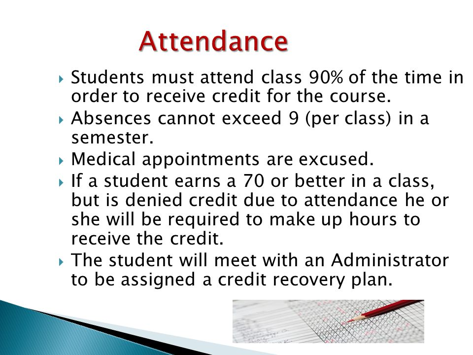 Attendance  Students must attend class 90% of the time in order to receive credit for the course.