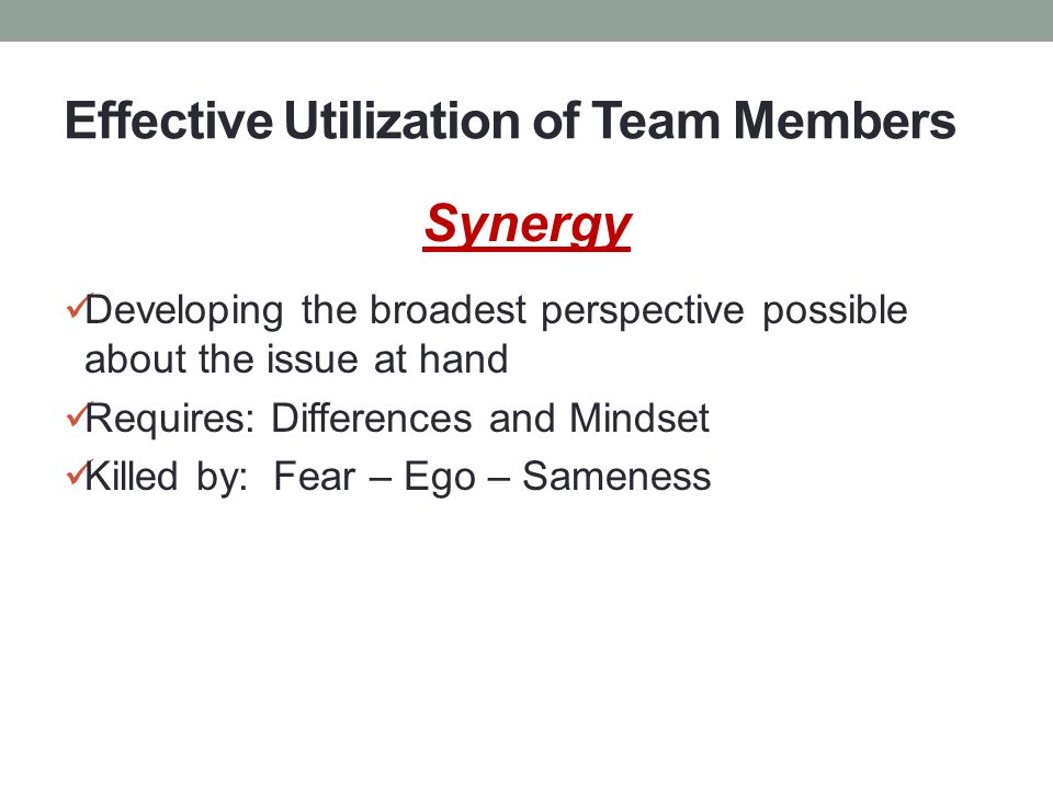 Effective Utilization of Team Members Synergy Developing the broadest perspective possible about the issue at hand Requires: Differences and Mindset Killed by: Fear – Ego – Sameness