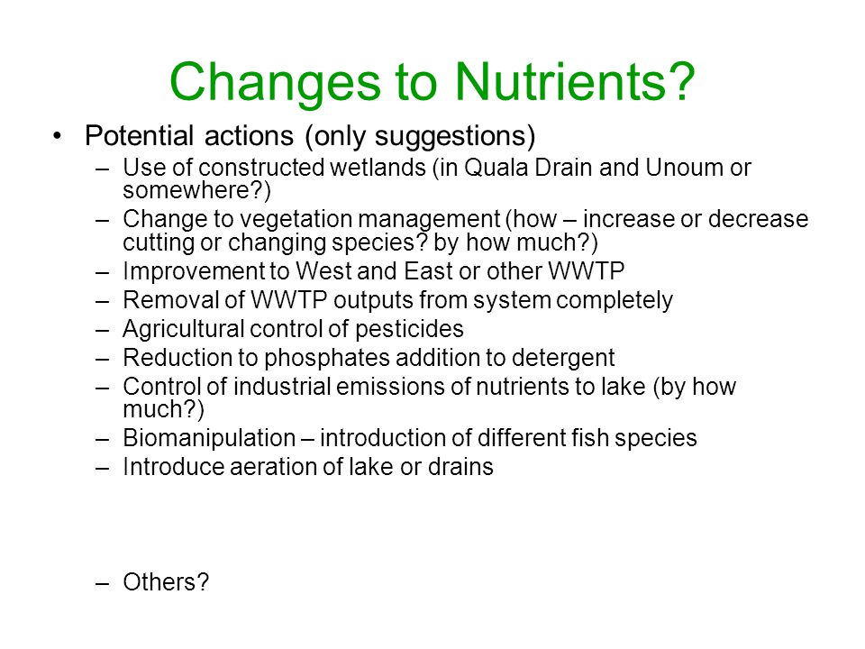 Changes to Nutrients.