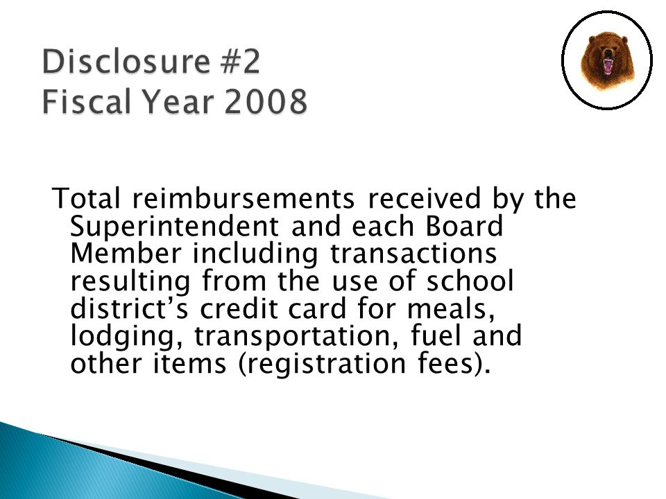 Total reimbursements received by the Superintendent and each Board Member including transactions resulting from the use of school district's credit card for meals, lodging, transportation, fuel and other items (registration fees).