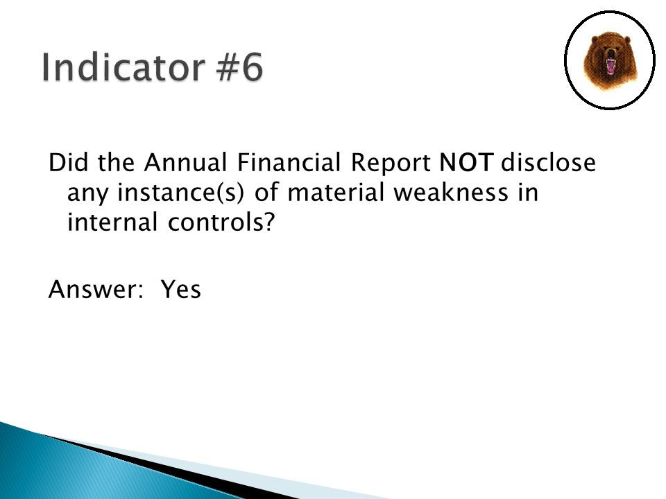 Did the Annual Financial Report NOT disclose any instance(s) of material weakness in internal controls.