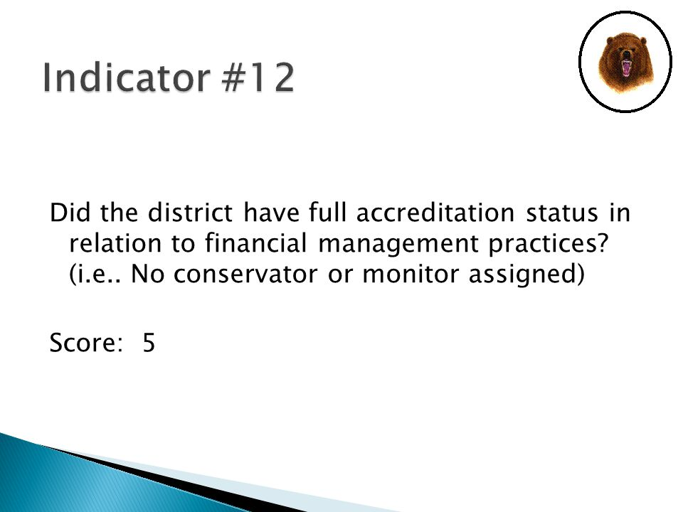 Did the district have full accreditation status in relation to financial management practices.