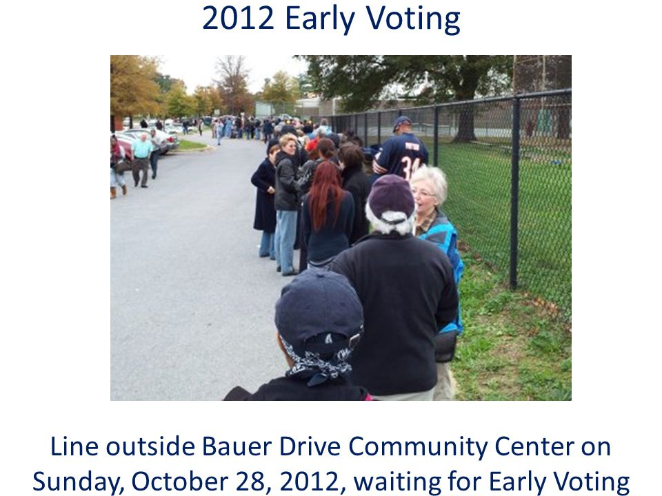 2012 Early Voting Line outside Bauer Drive Community Center on Sunday, October 28, 2012, waiting for Early Voting