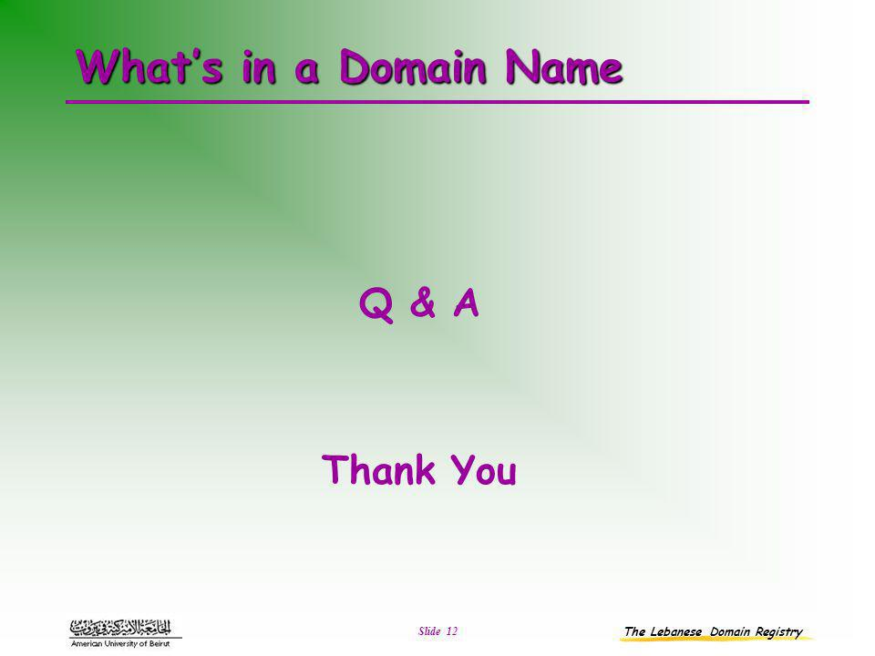 The Lebanese Domain Registry Slide 12 What's in a Domain Name Q & A Thank You